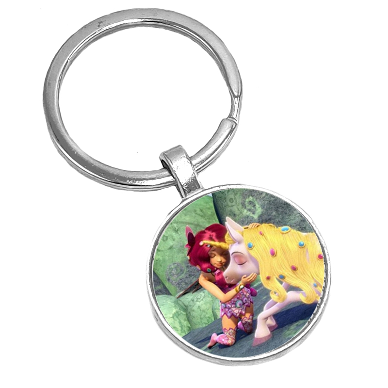 2019 Hot Selling European and American Anime Mia and My Glass Cabochon Key Chain Fashion Gem Keychain Wholesale in Key Chains from Jewelry Accessories