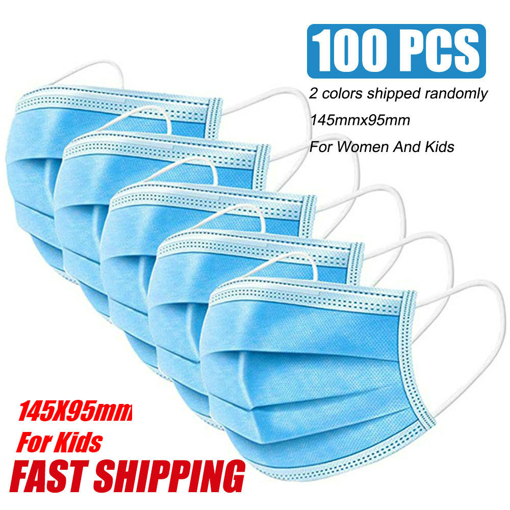 Medical Face Mask 100 Pcs Surgical Medical Respirator Disposable Mouth Masks 3 Layer Earloop Masks For Women Kids