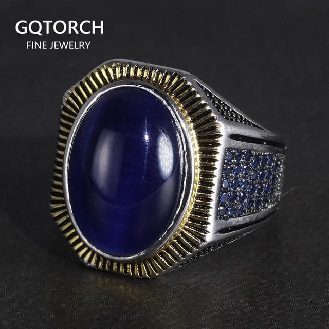 Garanti 925 bagues en argent Sterling Antique hommes turquie anneaux avec naturel Bule yeux de tigre pierres bijoux turcs Anello Uomo