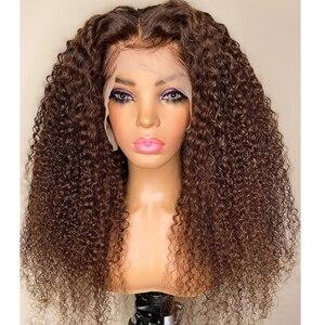 Malasia pelucas con cabello humano rizado castaño claro pelucas con minimechones 180 densidad prearrancadas 360 pelucas Frontal de encaje Remy