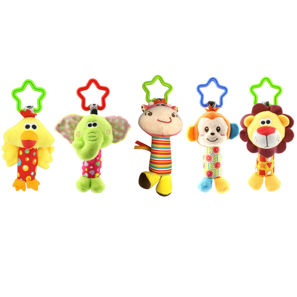 Hot Sale Children Plush Toys Colorful Animal Hanging Bed Crib Stroller Appease Doll Rattle Grasping Toy Gift