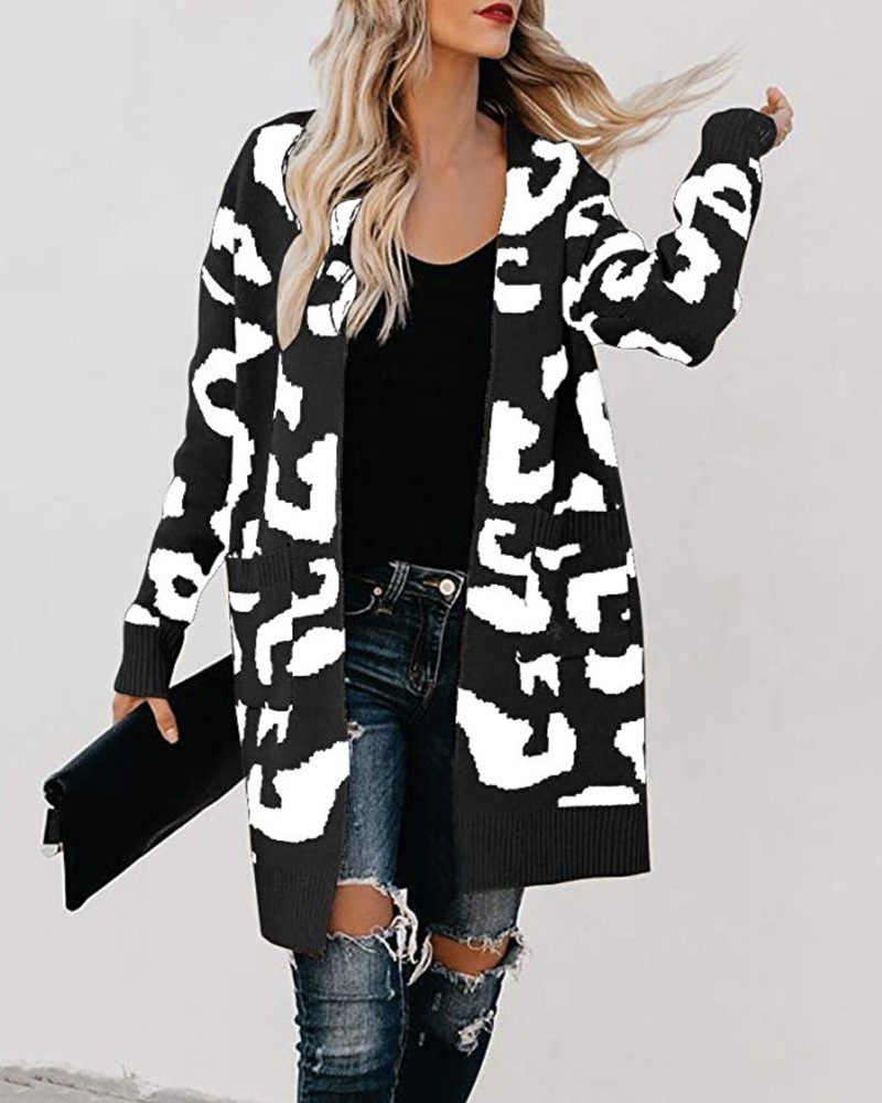Winter Clothes Women Leopard Long Cardigan Sweater Plus Size 2019 New Streetwear Christmas Sweater Womens Coats Yellow Black