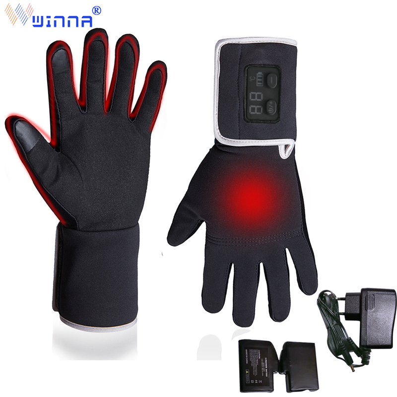 New Arrival Leather Electric Heating Gloves For Men Women Riding Fishing Outdoor Sports Winter Touch Screen Thin Driving Gloves
