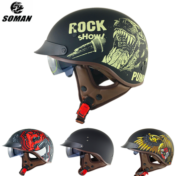 цена на SOMAN Half Face Vintage Motorcycle Helmet DOT City Scooter Helmets High Quality ABS Half Casco Moto Retro Motorcycles Motorbike