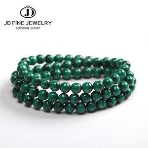 Image 1 - JD 6mm vert Malachite pierre Bracelets 54cm perles de prière islamique musulman Tasbih Allah Mohammed chapelet pour les femmes hommes