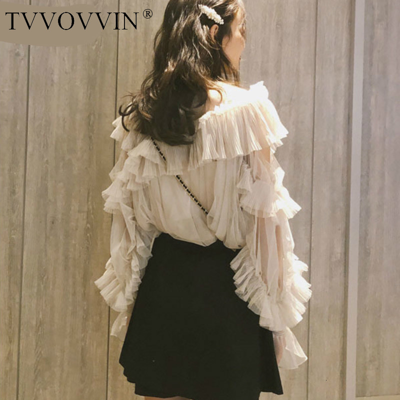 TVVOVVIN 2019 Spring Summer Fashion Women Clothes Vacation White Lotus Leaf Irregular Mesh Sweet Students Shirt Skirt Sset V045