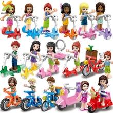 เจ้าหญิงตุ๊กตาเพื่อนขี่จักรยานสกู๊ตเตอร์ทีมตัวเลขชุดอาคารบล็อกของเล่นสำหรับของขวัญเด็ก