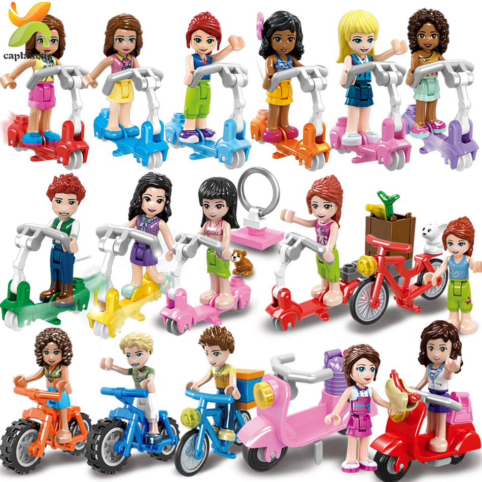 Princess Girls Friends Doll Cycling Scooter Team Figures Series Building Blocks Compatible Legoingly Girl Toys For Children Gift