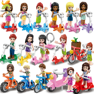Image 1 - Princess Girls Friends Doll Cycling Scooter Team Figures Series Building Blocks Girl Toys For Children Gift