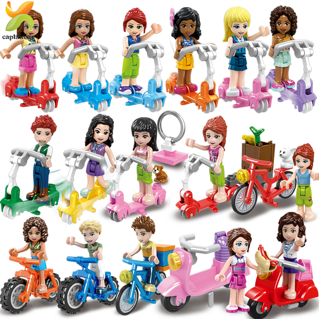 Princess Girls Friends Doll Cycling Scooter Team Figures Series Building Blocks Girl Toys For Children Gift