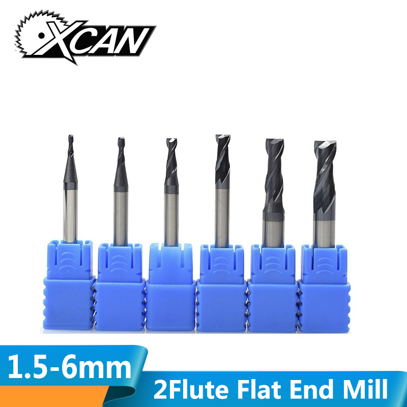 XCAN 6pcs 1.5-6mm 2 Flute TiAIN Coating Flat End Mill Carbide Milling Cutter HRC 45 CNC Machine Router Bit Milling Bit