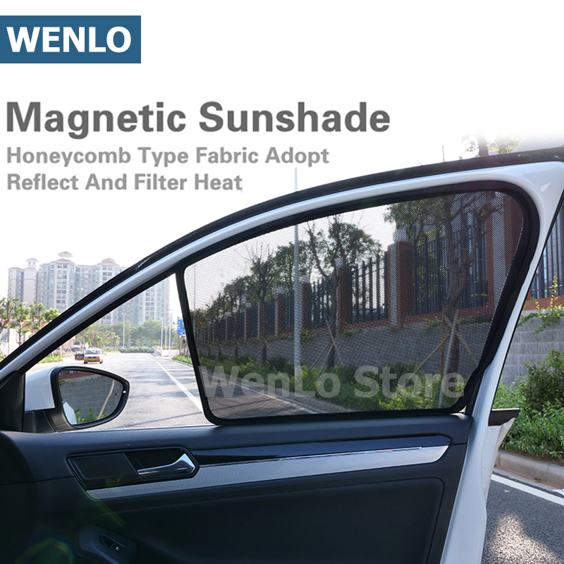 WENLO 2Pcs Magnetic Car Front Side Window Sunshade For Nissan JUKE LIVINA NOTE <font><b>NV350</b></font> E26 PULSAR QASHQAI Quest SERENA SUNNY image