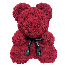 Teddy Flower Bear Girlfriend with Box Artificial PE Rose Valentine's-Day for Women Wife
