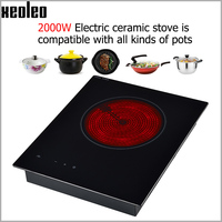 XEOLEO Built in Electric ceramic heaters Household Electric ceramic Cooker 2000W with Timing hotpot/Steam&Boil Induction cooker