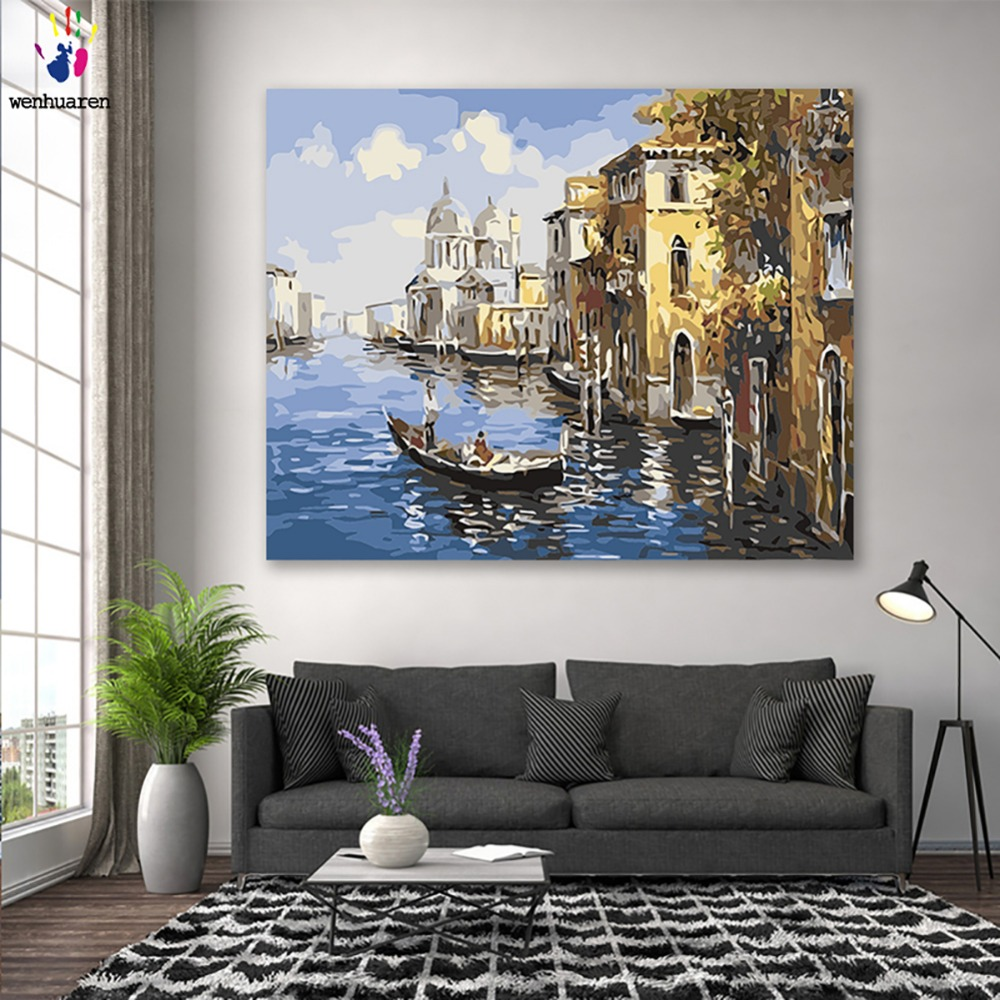 DIY colorings pictures by numbers with colors Venice town landscape water city picture drawing painting by numbers framed Home thumbnail