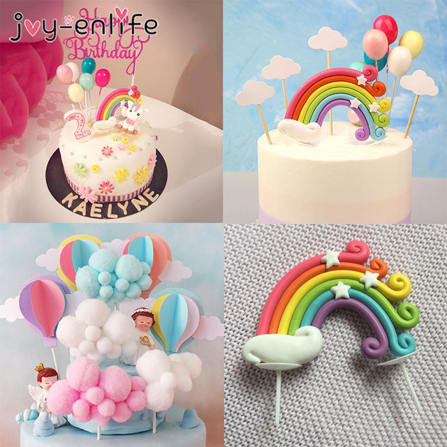 Rainbow Cake Toppers Birthday Party Decoration Kids Cupcake Toppers Cloud Egg Balloon Cake Flags Party Cake Decoration Unicorn