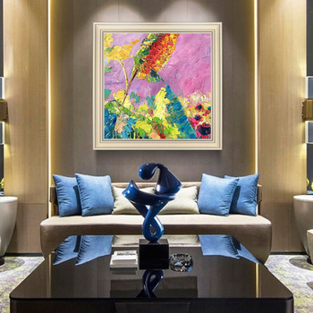 Nordic Style hand-painted Oil Painting The Living Room Decorative Painting Abstract Floral Paintings Of American hand-tailored M