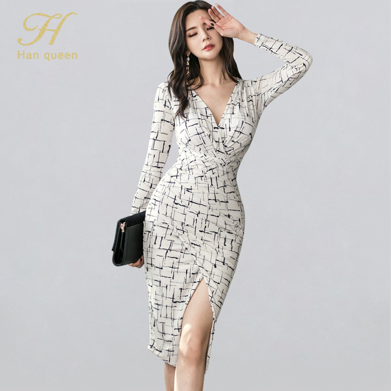H Han Queen V-neck Print Split Sexy Bodycon Dress Women 2019 Winter Fitted Sheath Pencil Dresses OL Striped Work Wear Vestidos