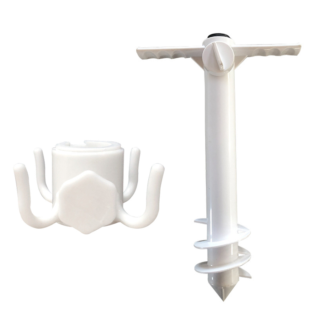 Windproof Parasol Sand Anchor Spike Auger Beach Umbrella Set Holder with Hook for Family Outdoor Camping Accessories