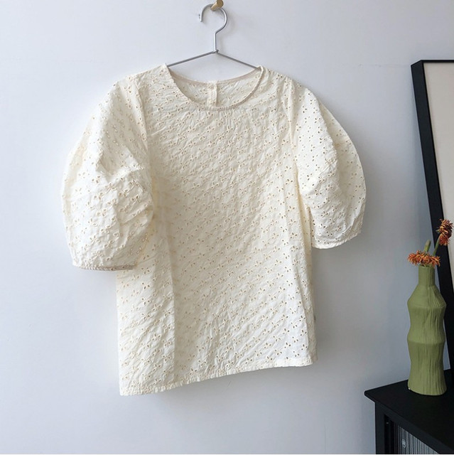 Korean Chic Summer Sweet Women Blouses Vintage O Neck Puff Sleeve Female Shirts 2020 Fashion New Hollow Out Blusas Mujer 6