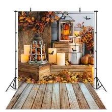 CSFOTO Autumn Backdrop 8x10ft Background for Photography Bokeh Fallen Maple Leaves Autumn Theme Party Decor Natural Scenery Interior Decor Adults Kids Portraits Wallpaper