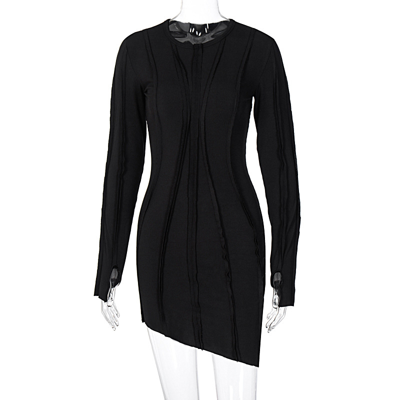 BOOFEENAA Asymmetric Black Bodycon Dresses for Women Clothes 2020 Fashion Sexy Ribbed Knitted Long Sleeve Mini Dress C95-CB31 7