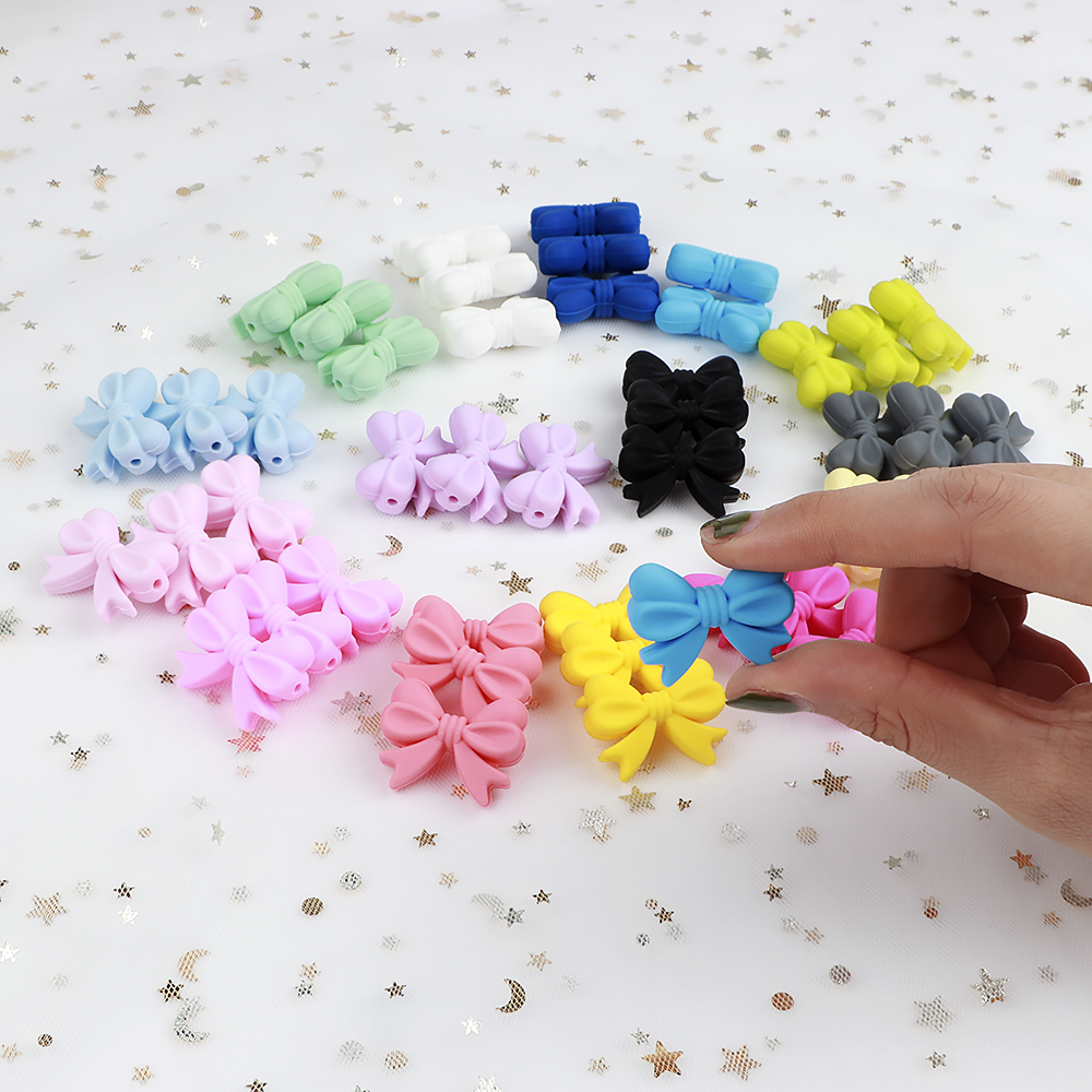 20pcs BPA Free Silicone Bow Beads Food Grade Baby Teethers Chewable Baby Teething Beads DIY Pacifier Chain Pendant