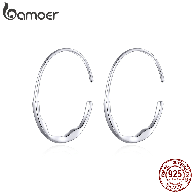 Bamoer Genuine 925 Sterling Silver Big Hoop Earrings For Women Minimalist Simple Ear Hoops Fashion Silver Jewelry SCE839