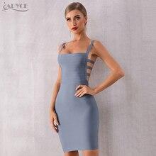 Adyce 2020 yeni yaz Bodycon bandaj elbise kadınlar seksi Backless spagetti kayışı Hollow Out kulübü elbise Mini ünlü parti elbise