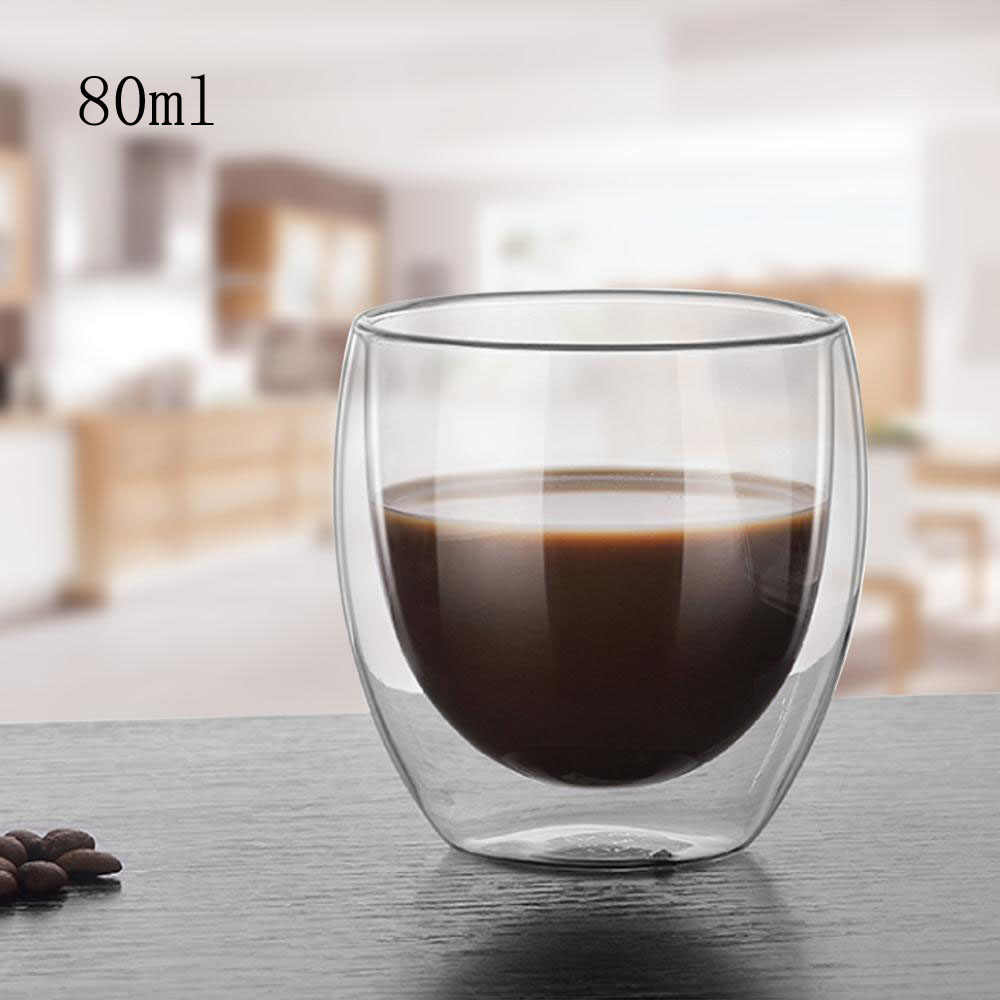 Zerodis 80ml Water Glass Cup Heat Resistant Double Layer Water Glass Bottle Cup Tea Coffee Whiskey Glass