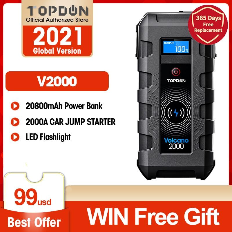 TOPDON V2000 Car Jump Starter 20800mAh 12V 2000A Peak Portable Emergency Wireless Charger Power Bank Booster Start Device