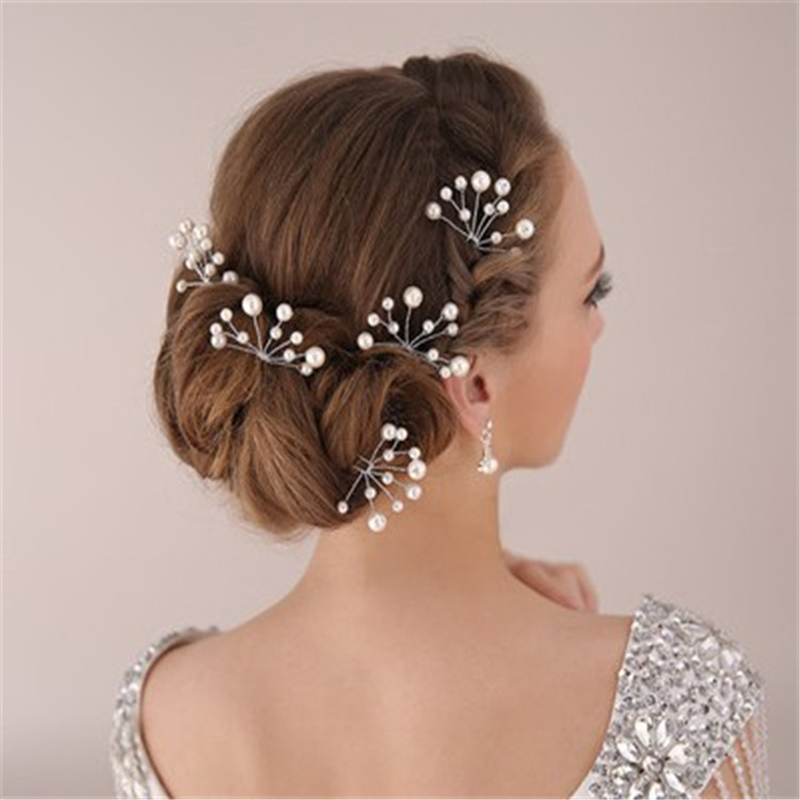 1 PCS Wedding Shiny Hair Fork Silvery Crystal Head Fork Ornament Romantic Queen Prince New Bride Headdress Hairpins Accessories