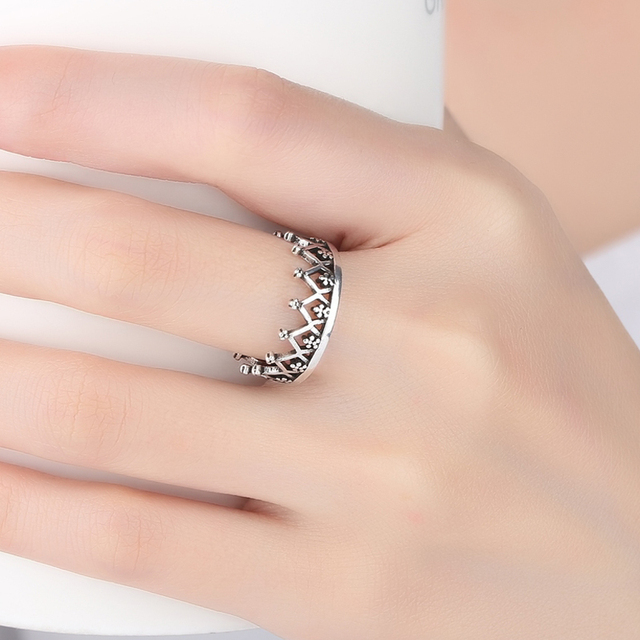 Bohemian Ethnic 925 Sterling Silver Crown Rings for Women Bridal Wedding Vintage Finger Rings Christmas Gifts 6