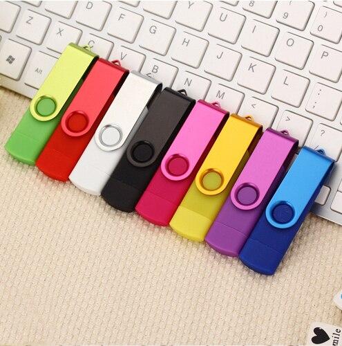USB 2.0 Metal Rotatable OTG USB Flash Drive Pen Drive 8gb 16gb 32gb 64gb 128gb Smart Pendrive USB Stick Retail Package