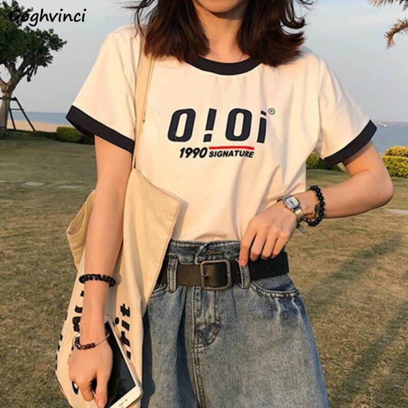 T-shirts Letter Printed Short Sleeve Tees Simple Casual Chic Basic Daily Streetwear Loose Women Korean Style Ins Harajuku Tshirt