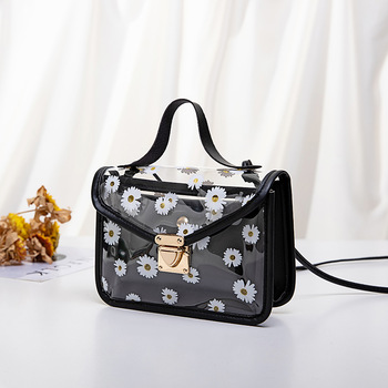 2020 Fashion Women Transparent Daisy Pattern Shoulder Bag Hardware Chain Strap Color Block Messenger Handbag Composite Tote