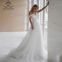 Swanskirt Beach Crystal Wedding Dress 2020 Off Shoulder Illusion A Line Sweetheart Princess Bride Gown Vestido de novia NR12