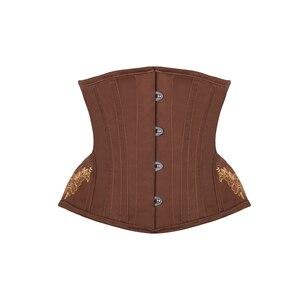 Image 5 - Espartilho burvogue, espartilho gótico, controle de cintura, steampunk, com bainha curva, bordado, treinador de cintura curta