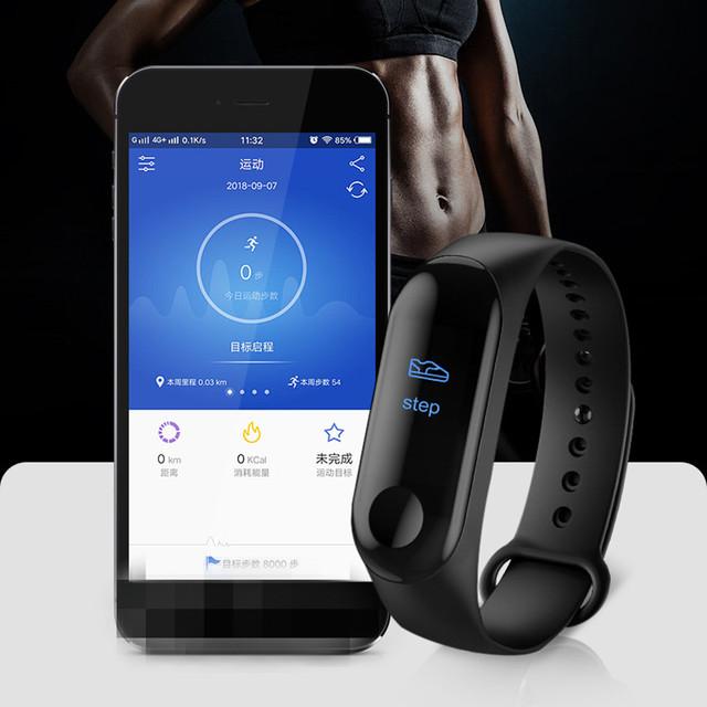 banda inteligente M3 Plus Bluetooth deportes Fitness rastreador pulsera inteligente sueño saludable presión arterial Monitor de ritmo cardíaco Smartband