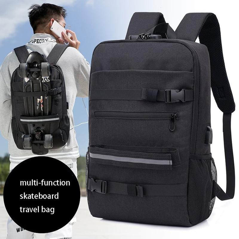 Skateboard Backpack Bag Anti-theft Password Lock USB Charging Shoulder Bag Men And Women Leisure Travel Computer Longboard Bag
