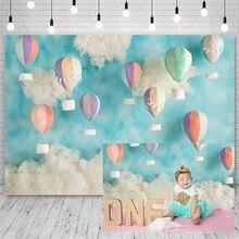 Avezano Birthday Party Backdrops Blue Sky Clouds Hot Air Balloon Decor Kid Banner Photography Background Photo Studio Photozone