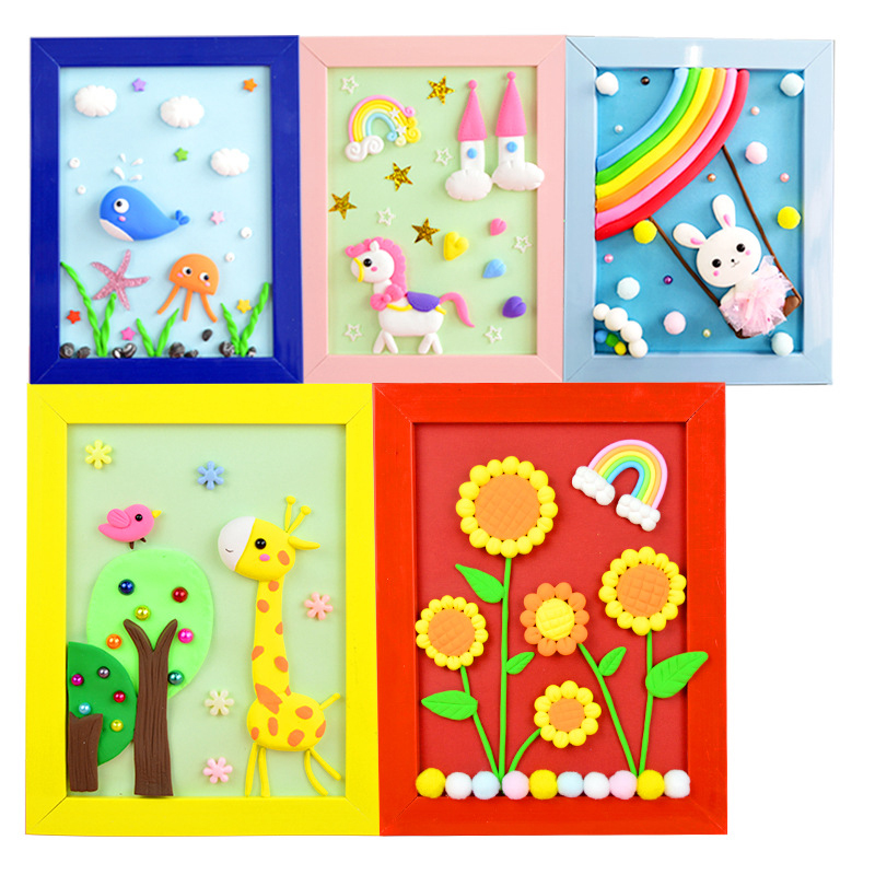 Toys For Children Handmade DIY Fancy Toy 3D Photo Frame Super Light Clay Creative Decorative Arts And Crafts For Kids