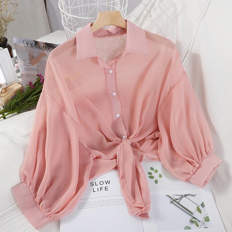 HELIAR Blouses Women Long Sleeve Top Buttoned Up Shirt Women Office Lady Blouse Tied Waist Tops OL Blouses Women 2020 Summer
