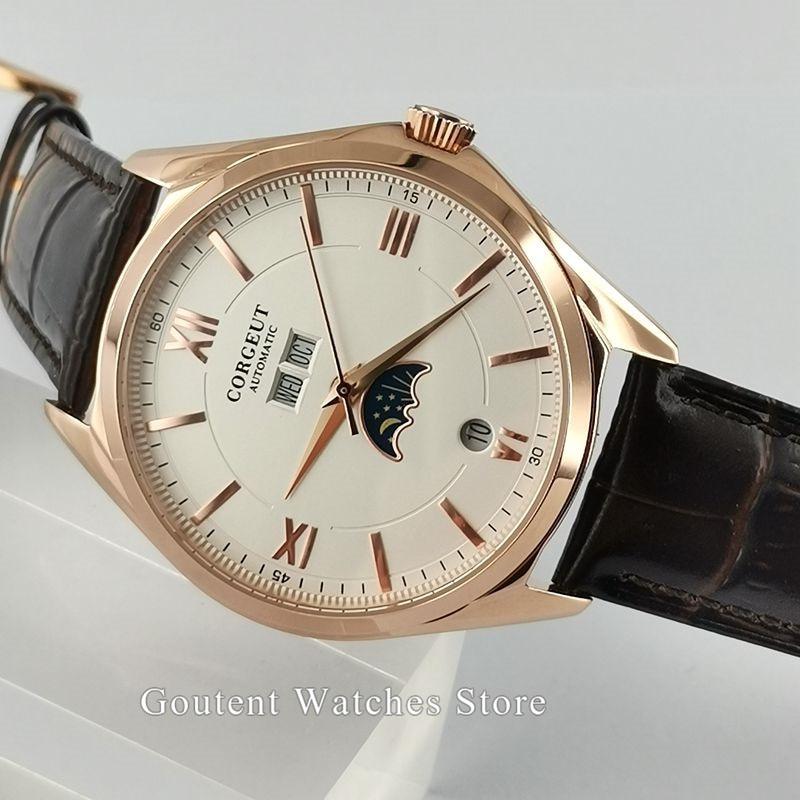 Corgeut Watches Men Rose gold Case White/Black Dial Automatic Mechanical Wristwatches Clock Waterproof Men Watch