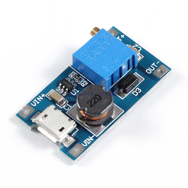 A7-- DC-DC Boost Step-Up Power Module 2V-24V to 5/9/12/28V 2A Micro USB Input Voltage Converter