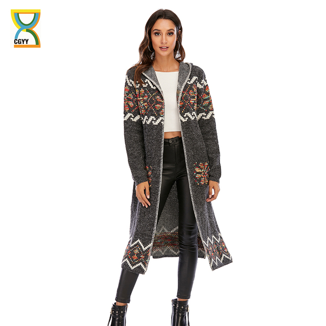 CGYY 2021 Womens Winter Fashion Casual Loose Sweater Female Autumn Spring Cardigan Single Breasted Puff Hooded Coat Plus Size