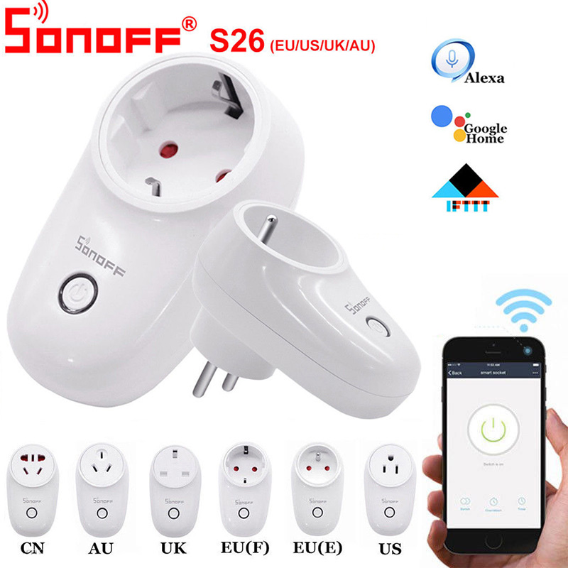 Sonoff S26 WiFi умная розетка для США/Великобритании/ЕС, Беспроводная розетка, Умный домашний переключатель, работает с Alexa Google Assistant IFTTT