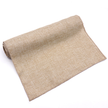 Gray Khaki Burlap Table Runner Jute Imitated Linen Tablecloth Rustic Wedding Party Banquet Decoration Home Textiles Overlay