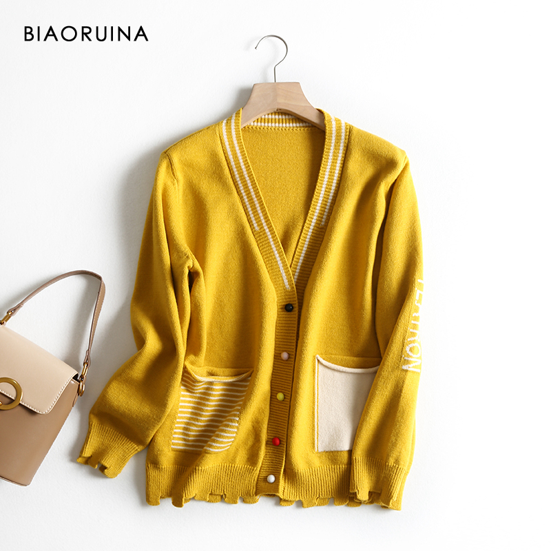 BIAORUINA Women's Korean Style Letter Stripes Jacquard Casual Cardigans Female Single Breasted Loose Fashion Knit Sweater
