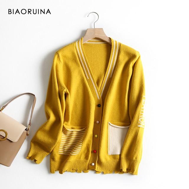 BIAORUINA 女性の韓国風の手紙ストライプジャカードカジュアルカーディガン女性シングルブレストファッションニットセーター